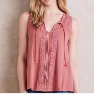Anthro Meadow Rue Lace Tie-Neck Blouse Small